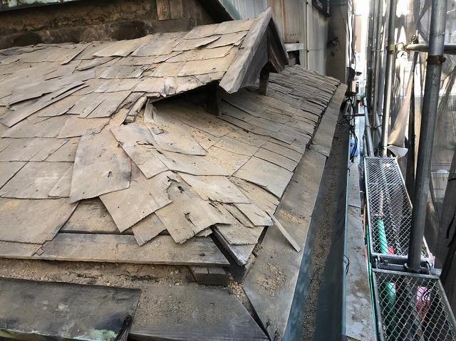 瓦撤去後の下葺き材の様子