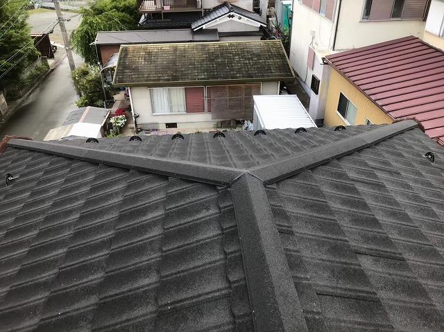 上牧町 いぶし瓦屋根 大屋根 施工後
