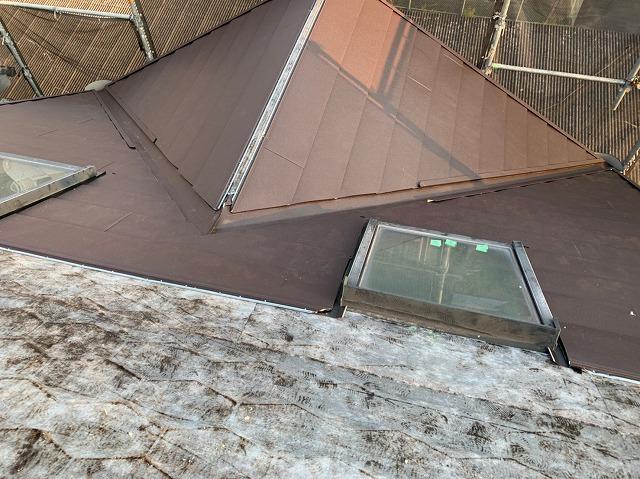 橿原市 ガルテクト設置中の屋根