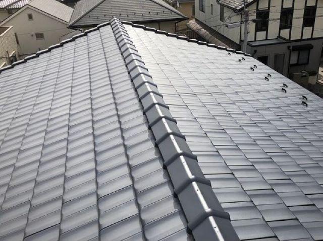 香芝市の屋根葺き直し工事の完成