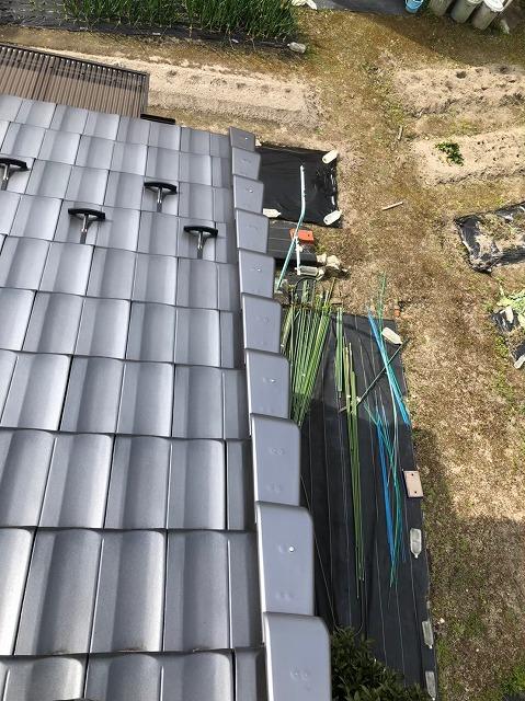 香芝市の平板瓦屋根の葺き直し工事完成