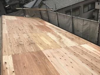 野地板の増し張り施工