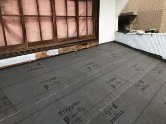 奈良市 トタン波板 防水紙設置