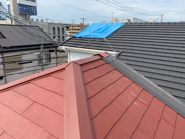カラーベストに葺き替え工事大屋根