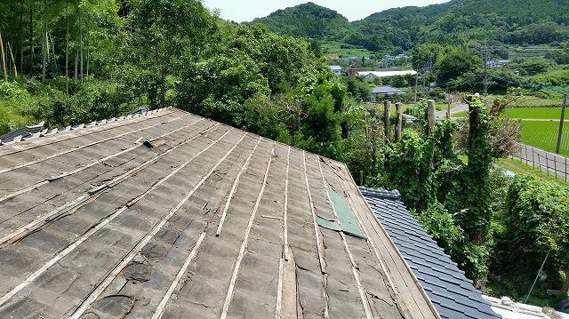 瓦撤去後の屋根