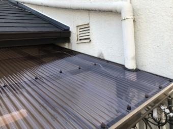 ポリカ波板設置後の屋根