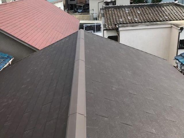天理市の屋根葺き替え工事でカラーベスト設置