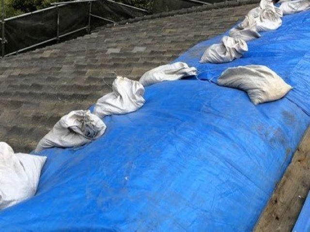 奈良市の瓦屋根を雨養生