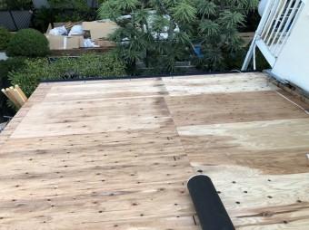 香芝市 下屋根 野地板設置