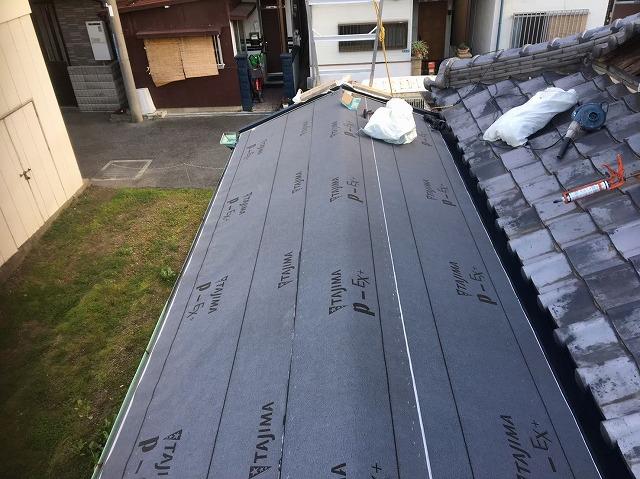葛城町 複合屋根 防水紙貼り