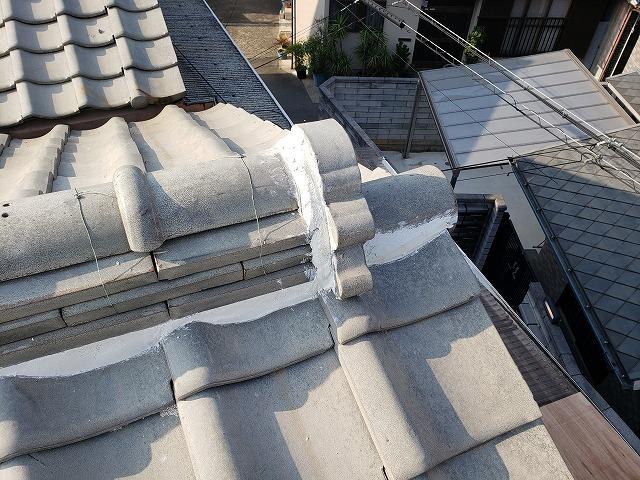大阪市内の漆喰詰め直し工事完成、巴瓦