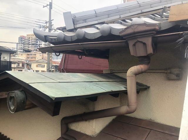 奈良市の瓦屋根の雨樋点検