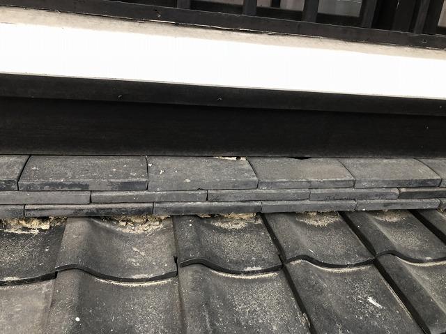 奈良市の瓦屋根の下屋根の崩れた漆喰