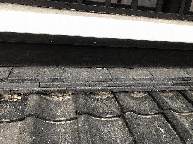奈良市の和瓦下屋根の漆喰劣化