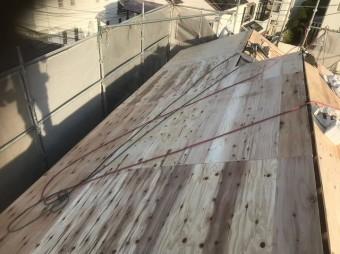 斑鳩町で構造用合板を増し張り