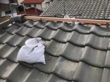 生駒市の崩れた大屋根の棟瓦積み直し