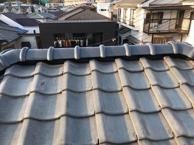 葛城市 雨漏りの瓦屋根 棟瓦取り直し工事完成