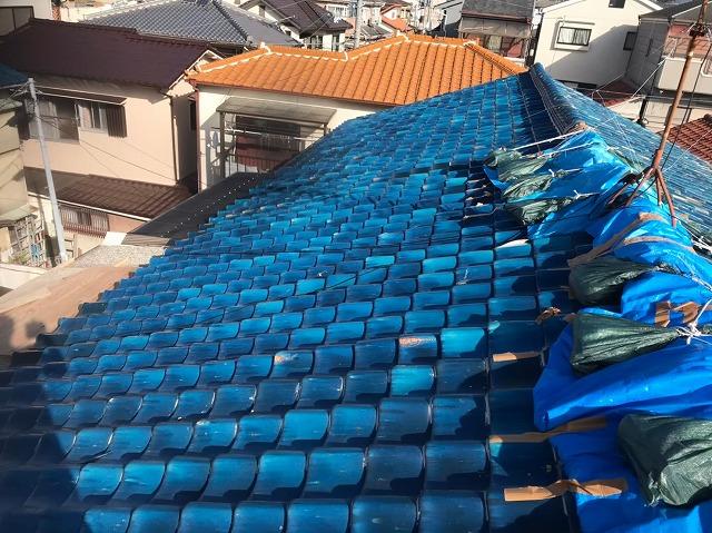 奈良市 長屋の釉薬瓦屋根 無料点検