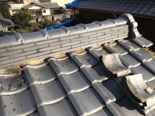 奈良市の瓦屋根のケラバのズレの修理