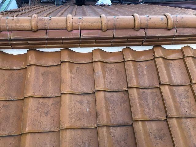 葛城市で棟瓦の補修