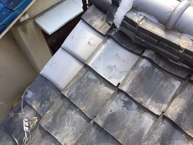 破損した平瓦の補修工事完了