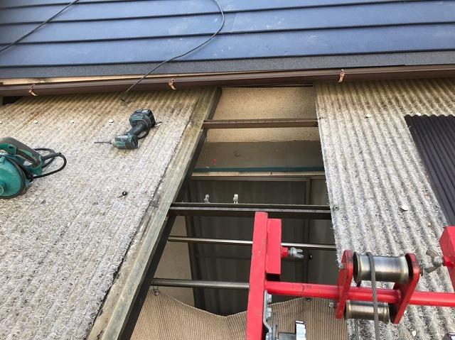 奈良市の波板屋根を部分撤去