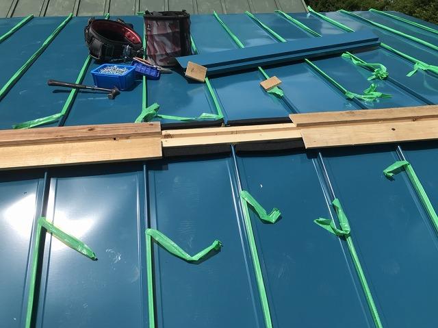 大和郡山市のトタン屋根が立平葺き屋根に貫板