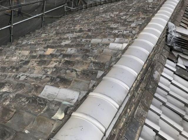 奈良市の部分補修済の和瓦屋根