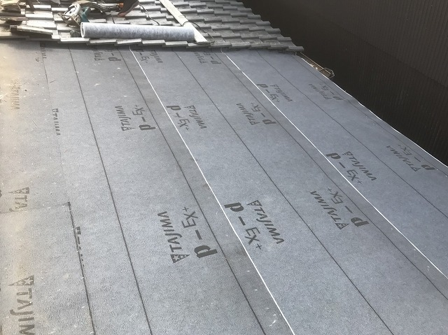 橿原市 和瓦屋根 防水紙貼り