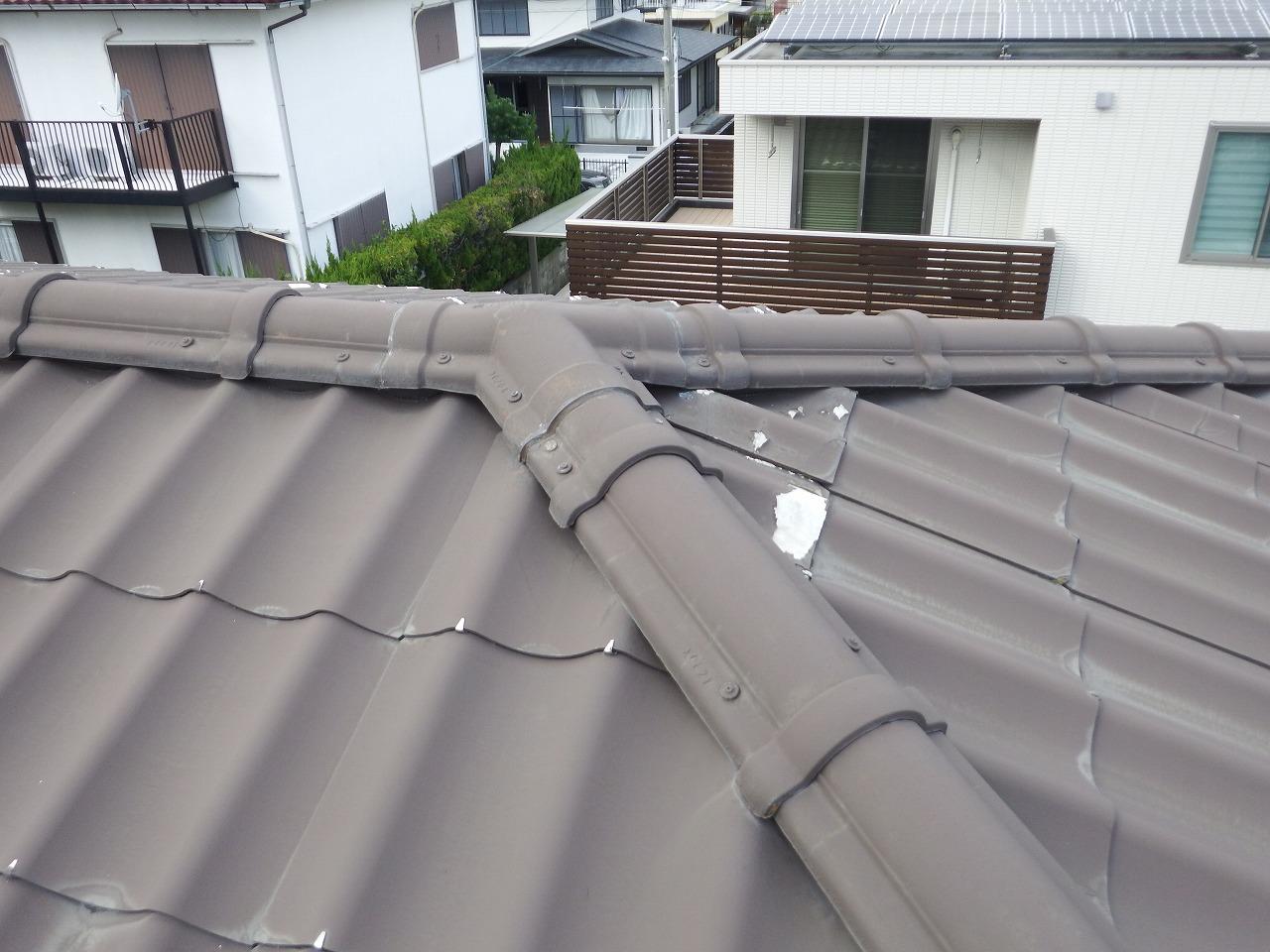 生駒市の葺き替え工事、大屋根施工前