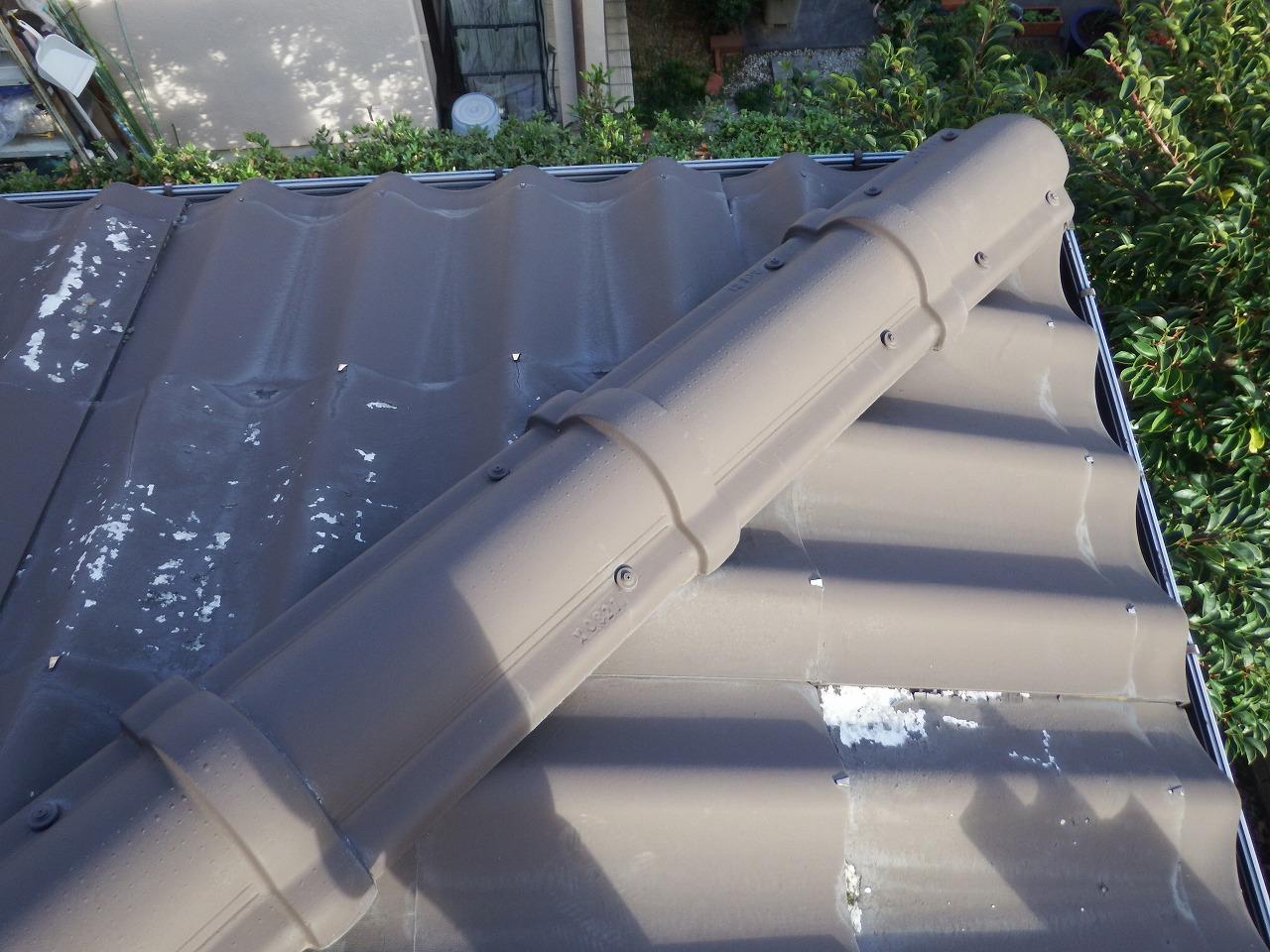 生駒市の劣化した下屋根の点検