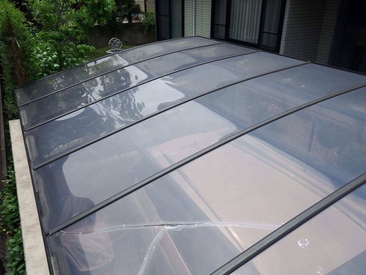 生駒市の割れたカーポート屋根の無料点検