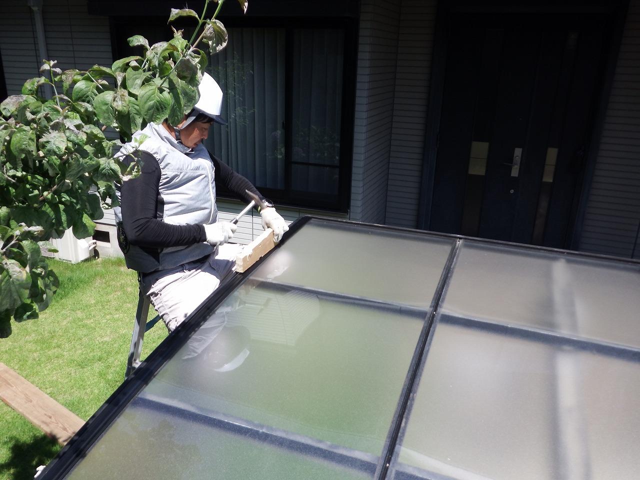 生駒市の新しいカーポート屋根設置