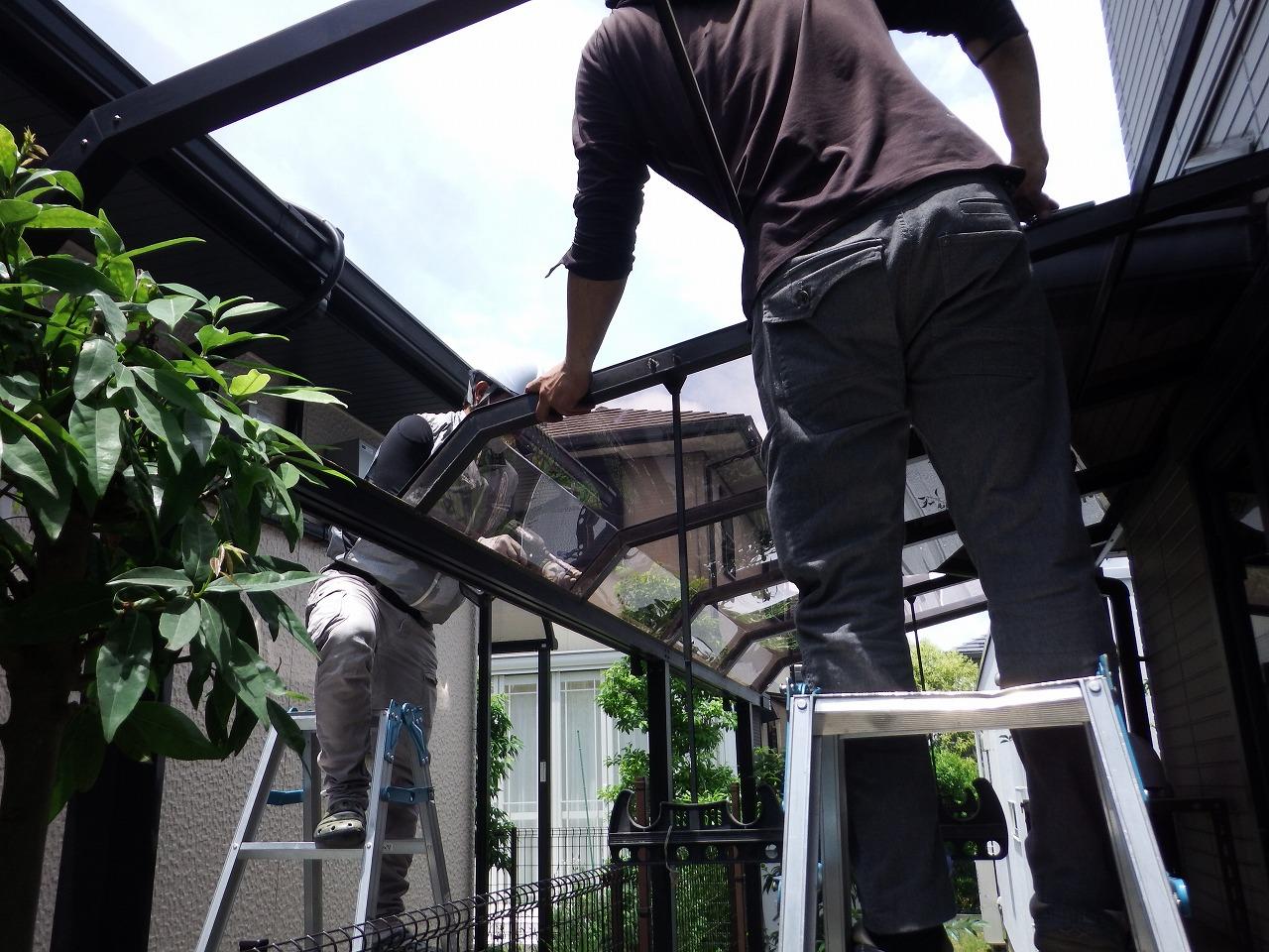 生駒市のテラス屋根の撤去