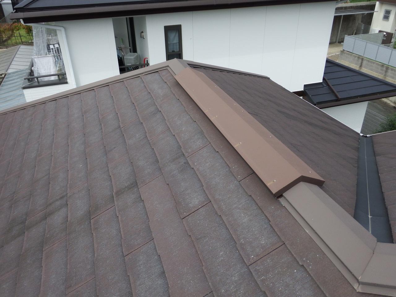 生駒市のスレート屋根の換気棟