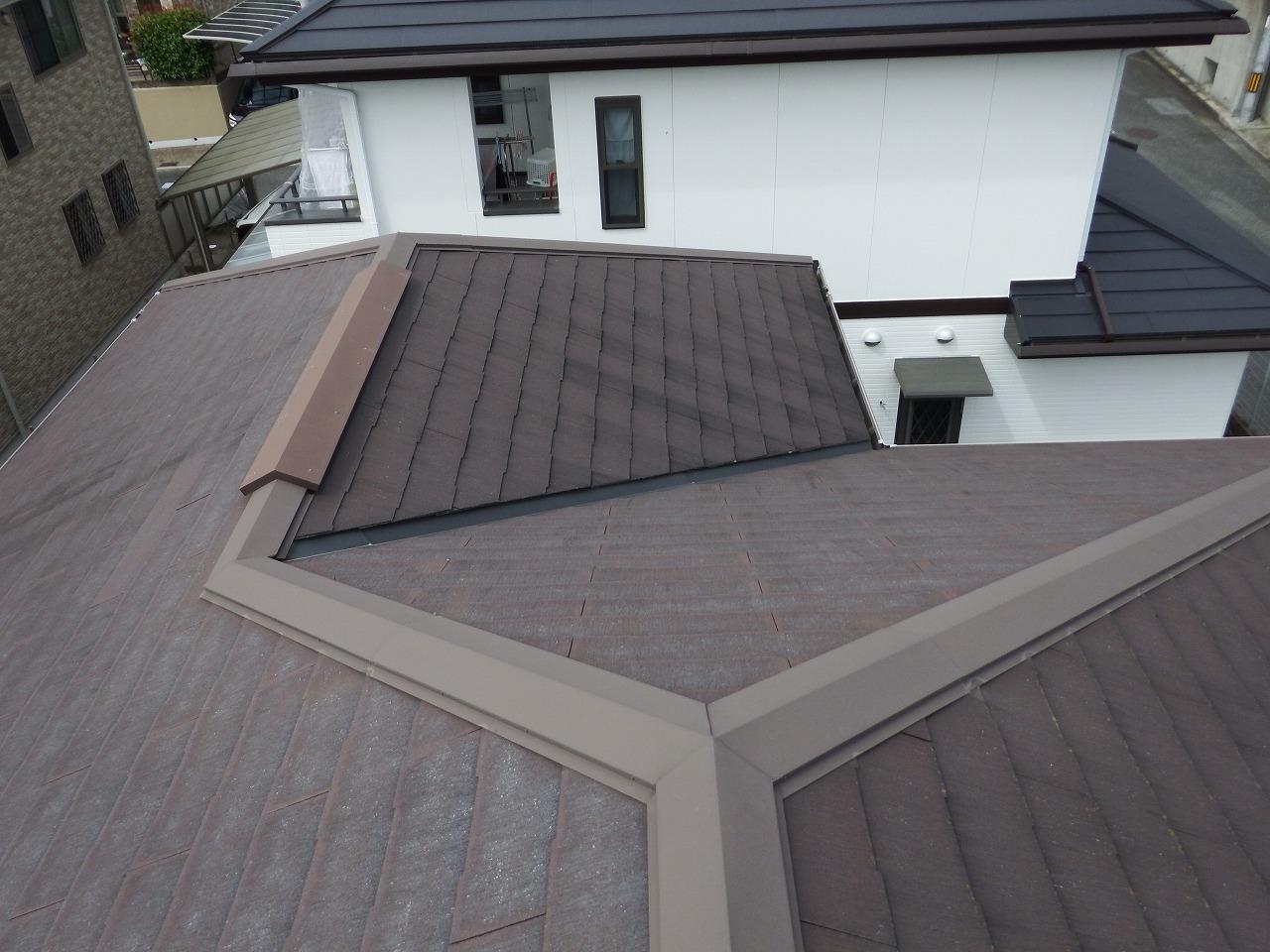 生駒市のスレート屋根、形状は複合タイプでした