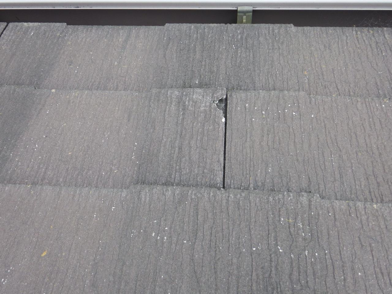 生駒市のスレート屋根、破損したコロニアルNEO