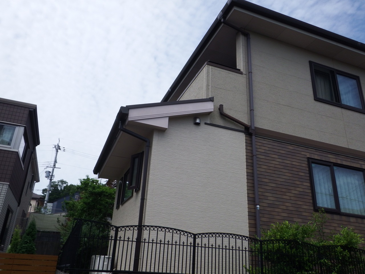 生駒市の外壁塗装前、増築部分