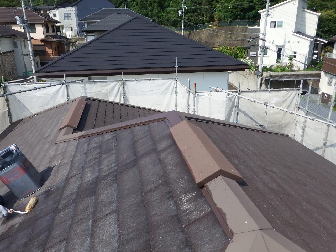 生駒市のスレート屋根塗装、下塗