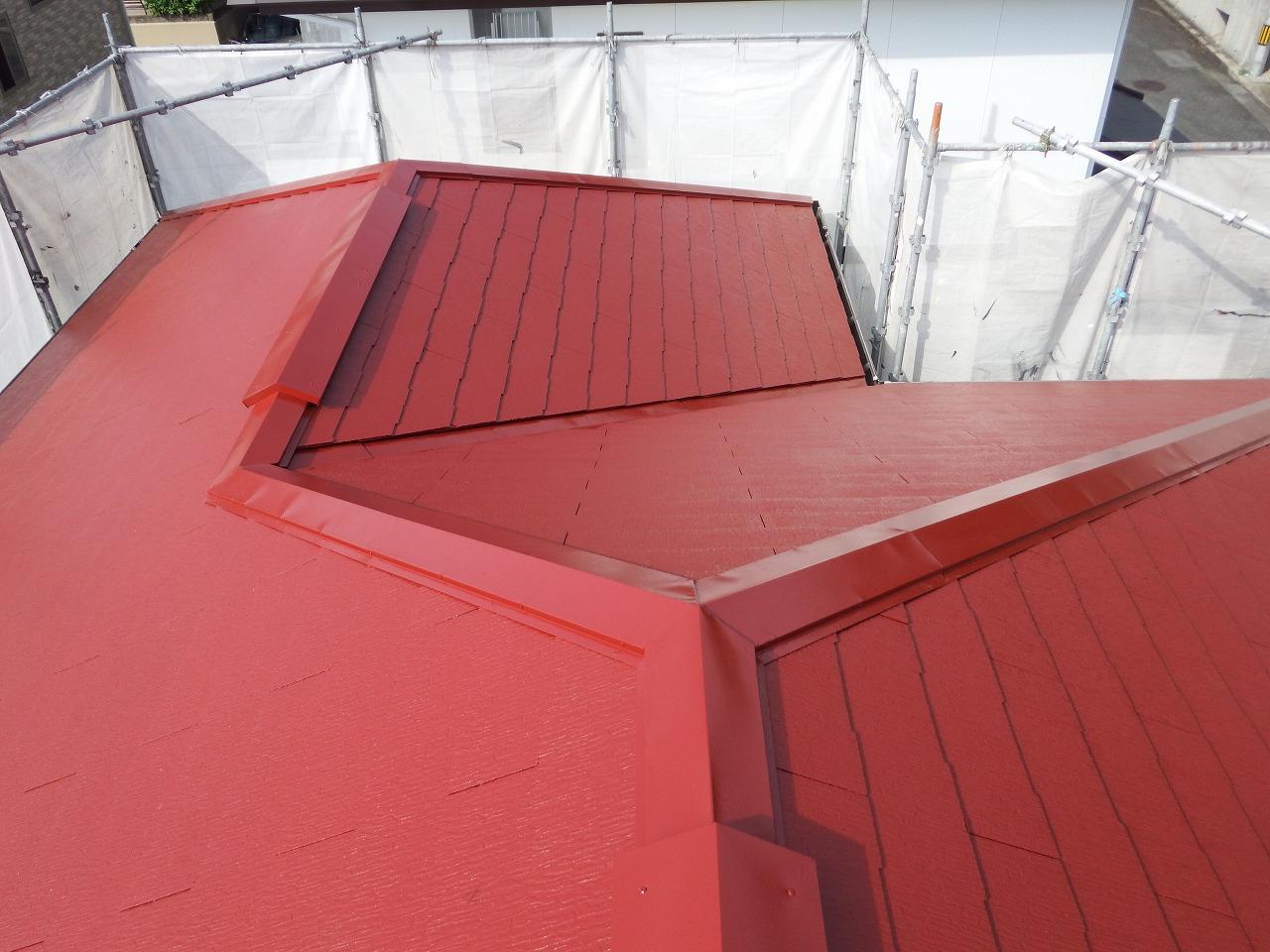 生駒市のスレート屋根塗装、上塗り