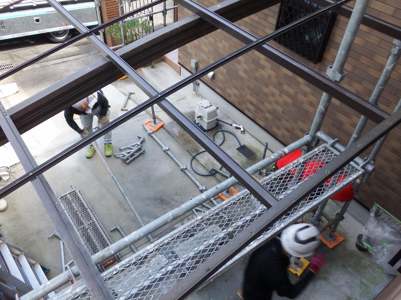 生駒市の屋根と外壁塗装工事、足場解体