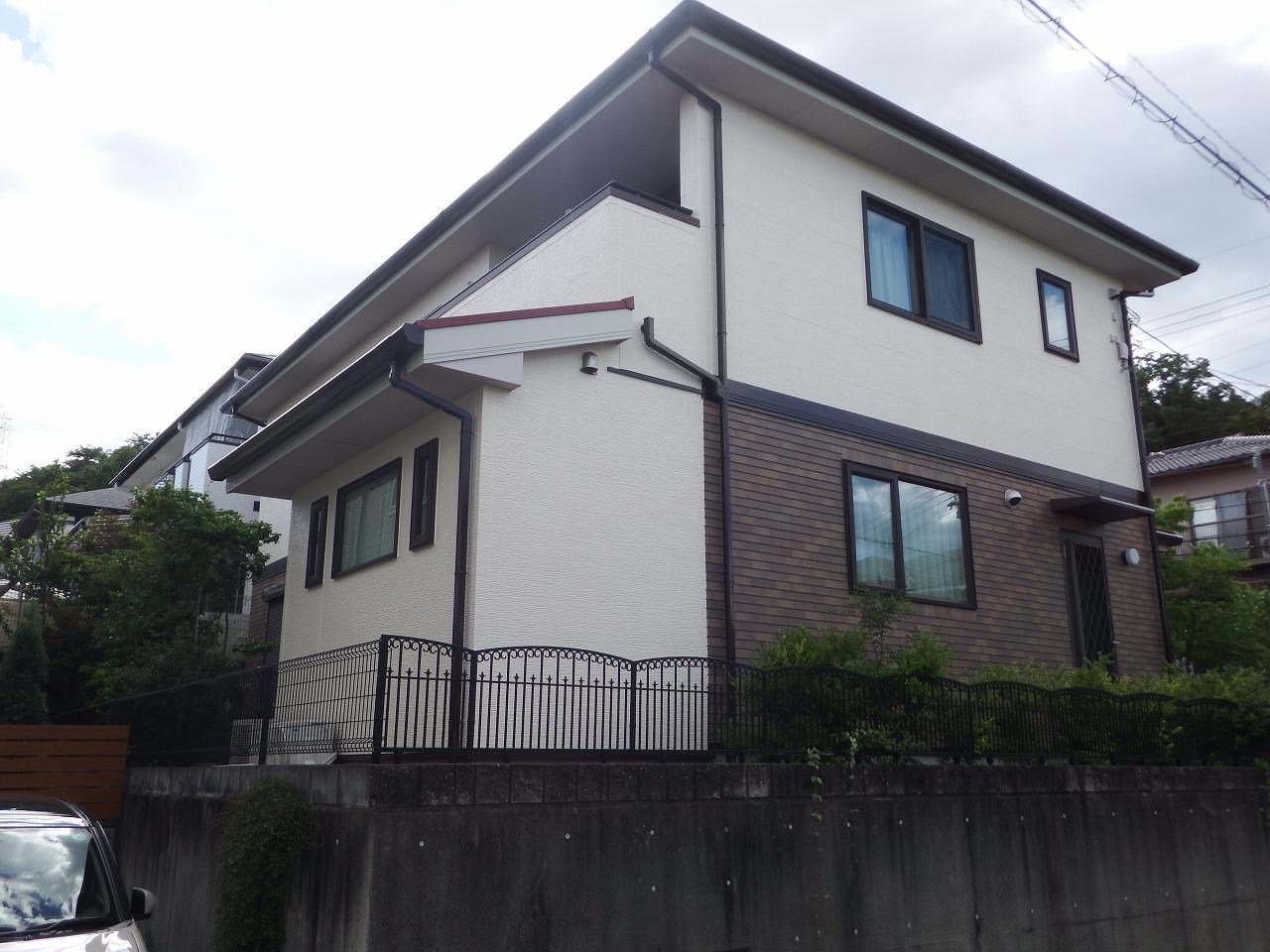生駒市の外壁塗装後、増築部分