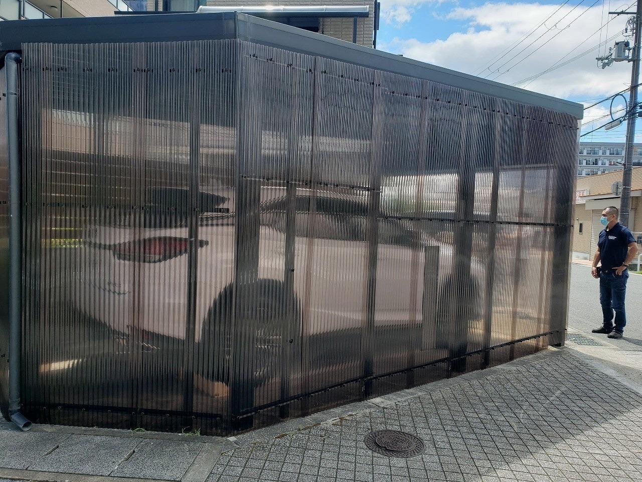 奈良市の波板外壁の車庫、現調