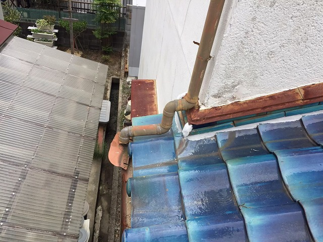 取り合い部分の熨斗瓦と漆喰