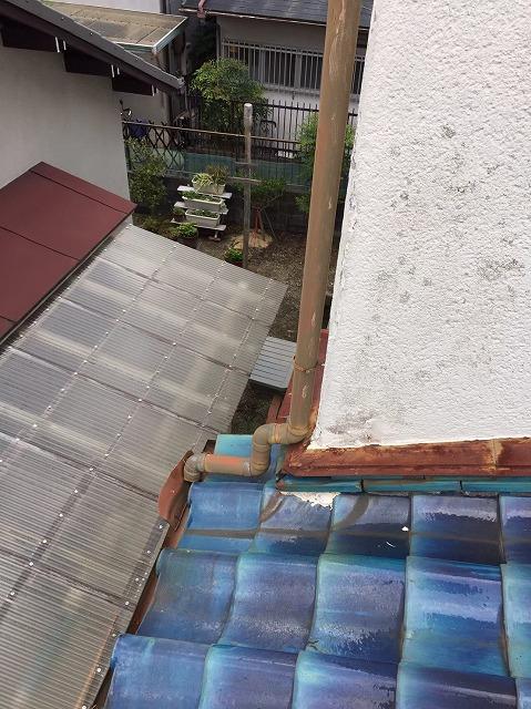 下屋根の取り合い部分熨斗瓦