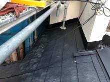 下屋の葺き替え工事でカラーベスト使用