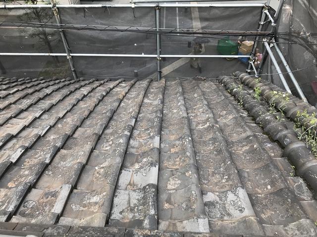 奈良市の和瓦屋根の施工前