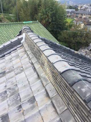 生駒市の瓦屋根の大棟補修完了