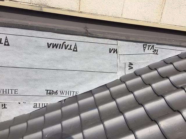 外壁の補修で防水紙設置