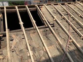 越屋根を撤去した部分の屋根